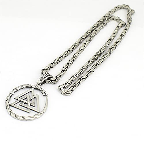 WHH&YZQ Vintage Vikingo Collar Hombres De Acero Inoxidable Valknut Amuleto Dragón Colgante Joyería Suerte Talismán Rey Cadena