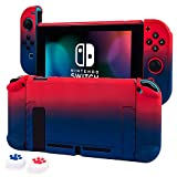 Cybcamo Protective Case Cover for Nintendo Switch, Hard Shell Case Handheld Grip for Nintendo Switch Console and Joy-Con Controllers with 2 Thumbsticks (Red & Blue)