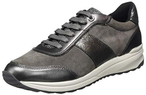 Geox D Airell A, Zapatillas Baja Mujer, Gris Oscuro, 38 EU