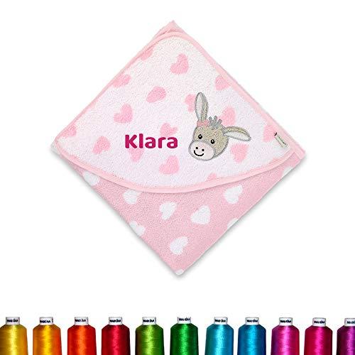 Sterntaler Kapuzenhandtuch bestickt mit Namen für Baby Kinder 80x80 Emmi Girl Rosa