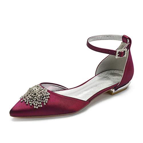 QXue - Zapatos para Dama de Honor para Novia con Diamantes de...