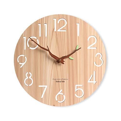 壁掛け時計 おしゃれ 北欧 ナチュラル 木製 枝型指針 かわいい 掛け時計 無音 連続秒針 シンプル モダン フレームなし インテリア 寝室 リビング オフィス 会社 装飾 直径30cm (緑の葉&木色)
