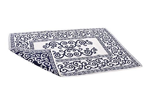 HomeLife – Alfombra de baño Rectangular de algodón [Dimensiones: 60x120] – Alfombrilla para Ducha de Calidad Fabricada en Italia y Lavable en Lavadora – Decoración barroca, Azul Oscuro
