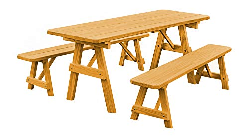 Cool Outdoor 6 Foot Pine Picnic Table With 2 Benches Detached Beatyapartments Chair Design Images Beatyapartmentscom