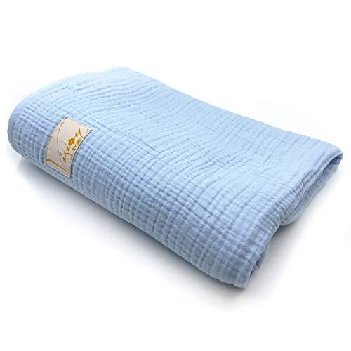 VISION BY ME Babydecke – Musselin aus ÖkoTex Baumwolle ideal als Babydecke, Erstlingsdecke, Wolldecke oder Baby Kuscheldecke in blau