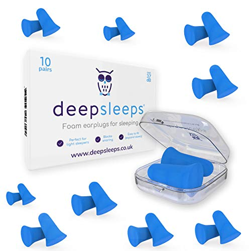 Ear Plugs for Sleeping by Deep Sleeps (10 Pairs) Soft Ear Plugs For Sleeping - Easy to Fit Slow Expanding Foam Ear Plugs - The Best Ear Plugs for Sleeping