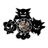 TIANYOU ビニールレコード 時計 ポケットモンスター 壁時計 クリエイティブ サイレント ブラケット時計 家の装飾 時計 12インチ アニメ 壁時計