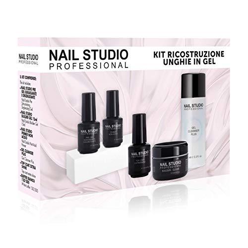 Nail Studio Professional - Set Ricostruzione Unghie Professionale - Kit Ricostruzione Unghie Gel con Pre Gel, Builder Gel Clear, Primer Non Acido, Gel Cleanser Plus, Top Coat Extra Shine e Buffer