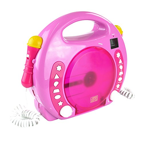 X4-TECH Bobby Joey - Kinder CD Player für USB-Stick, SD-Karte, MP3-CD - 2X Mikrofone Karaoke inkl. Sticker - pink