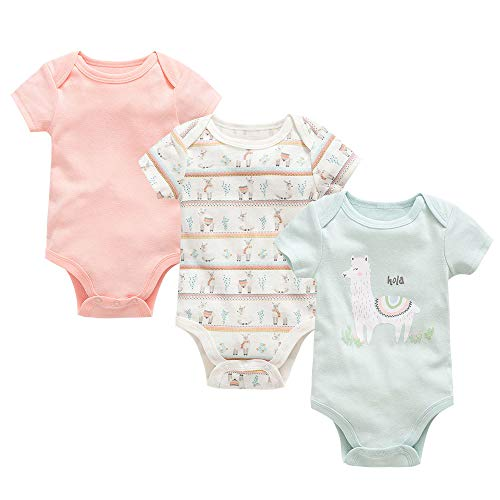 Conjunto de 3 peleles unisex de manga corta para bebé, pijama de algodón, ropa de verano de 0 a 12 meses