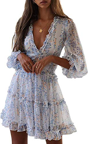 Damen Sommerkleid V-Ausschnitt Böhmisch Kleider A Linien Kleid Floral Minikleid Lange Ärmel Strandkleid (Blau, Small)