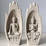 GCE 2 unids/Set Piedra Arenisca Figura de Buda Estatua Budismo esculturas de jardín