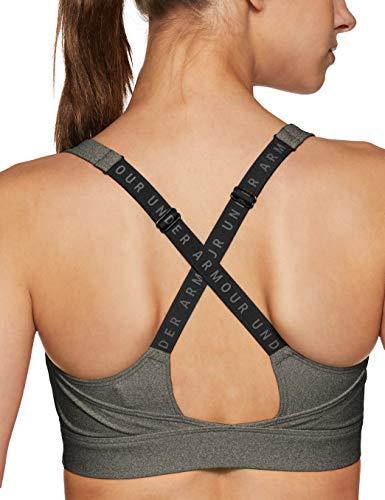 Under Armour Damen UA Vanish Sport Bra, Charcoal Fade Heather/Black/Metallic Iron, M - 4
