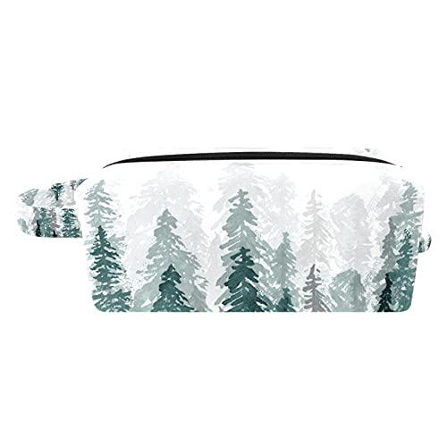 Kit de Maquillaje Neceser Makeup Bolso de Cosméticos Portable Organizador Maletín para Maquillaje Maleta de Makeup Profesional Bosque de árboles Verdes Blancos