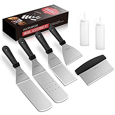 multifun Griddle Accessories Kit, 7-Pieces Exclusive Stainless Steel Griddle Tools Long/Short Spatulas Set - Commercial Grade Flat Top Grill Cooking Kit - for Outdoor BBQ, Teppanyaki and Camping