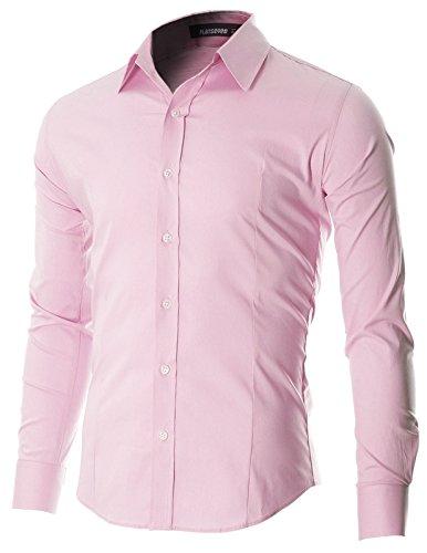 FLATSEVEN Camicia Uomo Slim Fit Casual con Bottoni Manica Lunga (SH600) Rosa, S