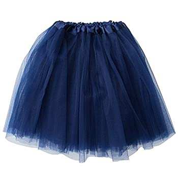 So Sydney Adult Size 3-Layer Tutu Skirt - Princess Costume Ballet Party Warrior Dash/Run  Navy Blue ,One Size