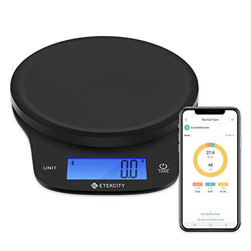 Etekcity 0.1g Food Kitchen Scale, Digital Weight Grams and Oz for Cooking, Baking, Meal Prep, and Diet, Smart, Black