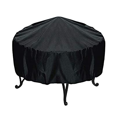 Destinely Outdoor Round Patio Fire Pit Cover, Round Fire Pit Cover Waterproof Protective Garden Patio Outdoor Fire Bowl Cover with Drawstring, Black from Destinely