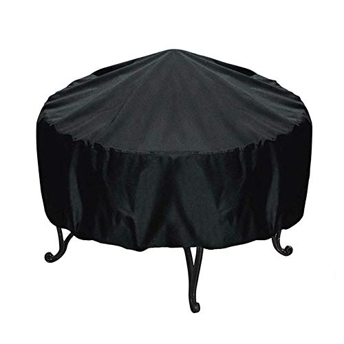 likeitwell Round Fire Pit Cover Waterproof Protective Weather Resistant Cover Garden Patio Outdoor Fire Bowl Cover with Drawstring, Black Beautifully Conventional