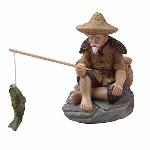 KLHHG Pescatore Anziano Resina Figura Statua Seduta Giardino Ornamento per Piscina all'aperto Micro-Paesaggio Bonsai Giardino Artigianato