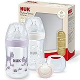 NUK, Nature Sense Babyflaschen Set 2 Babyflaschen 260ml Temperature Control Anzeige 1 Schnuller 618 Monate mit brustähnlichem SilikonTrinksauger, rosa