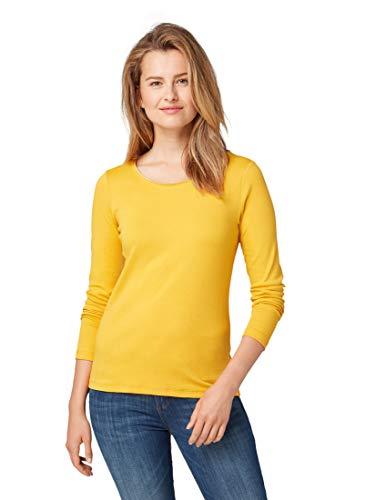 TOM TAILOR Damen T-Shirt Basic, Satee, S Langarmshirt, Gelb (Merigold Yellow 11216), S