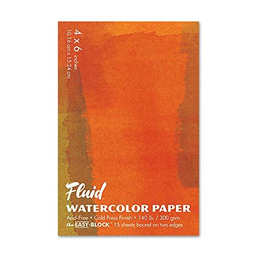 Fluid Watercolor Paper 880046 140LB Cold Press 4 x 6 Block, 15 Sheets