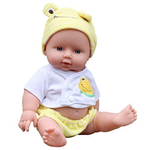 Baslinze Babypuppe, Puppe Reborn Babys Emulierte Realistische Echte Girl Weichkörper Lebensechte Bunt Soft Weiche Silikon Vinyl Handgefertigt mit Kleidung Zubehör Kind Geschenk (30X15X9 cm) (Gelb)