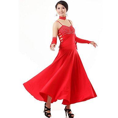 kekafu Ballroom Dance's Outfits Frauen Leistung Viskose Kristalle/Strass 4 Stück Kleid Handschuhe Halstücher, Seidenkrawatten />, Rot, XL