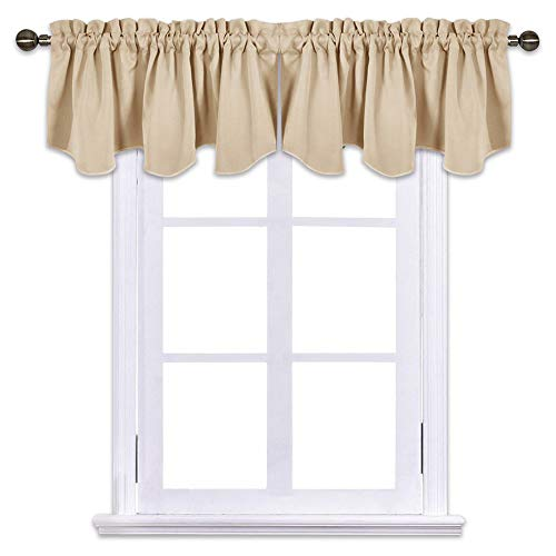 NICETOWN Living Room Blackout Valances - 52 inches by 18 inches Scalloped Pole Pocket Valance Panels for Nursery/Living Room/Bedroom/Small Window, Biscotti Beige, 1 Pair,