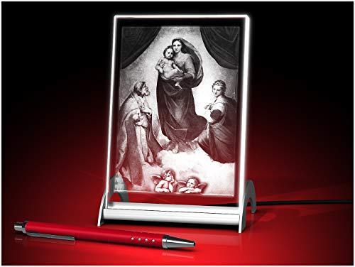 GLASFOTO.COM, Sixtinische Madonna, Kristallglas 3D Innengravur in Premiumqualität (90 x 150 x 10 mm Glasfoto beleuchtet)