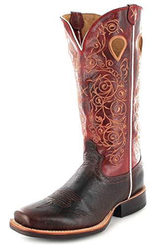 Twisted X Boots Damen Cowboy Stiefel 1743 Ruff Stock Westernreitstiefel Lederstiefel Braun 39 EU