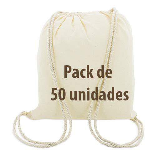 Siglo XXI Publicidad 50x Bolsa Mochila Algodón Natural Cierre Con Cordones. Reciclable, Gimnasio, Shopping backpack, Manualidades, Regalos ecológicos