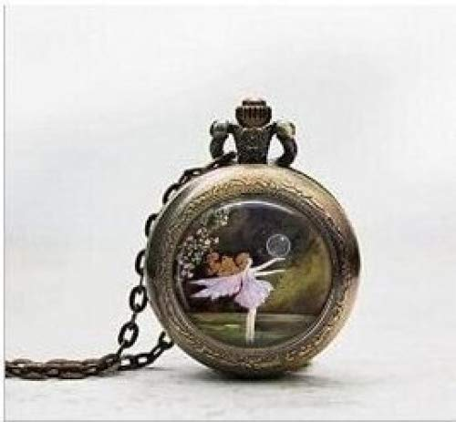 Reloj de bolsillo con colgante de hada de ballet de burbujas, collar...