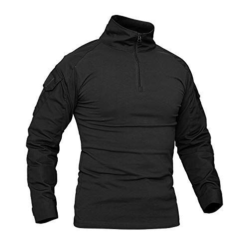 CRYSULLY Mans Army Outerdoor Tactical Hiking Shirts 1/4 Front Zip Mountaineering Shirts Army Black