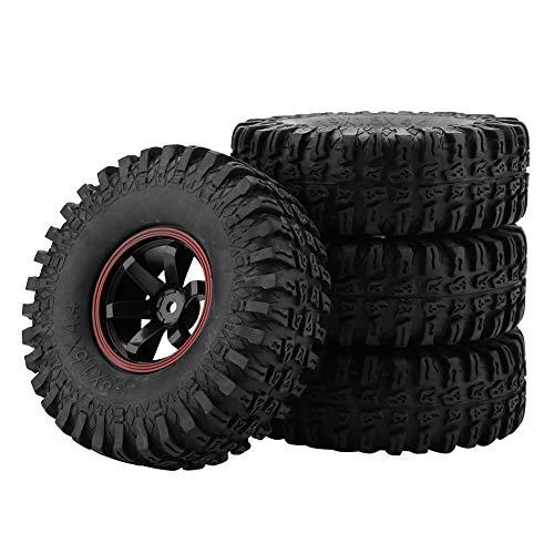 Dilwe RC Neumáticos, 4 Pcs Neumáticos de Rueda 6 Hoyos Neumáticos de Goma con Ejes para 1/10 Escala RC Crawler Off-Road Car