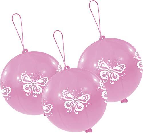 amscan Latexballons Punch Balls Schmetterling, Rosa/Weiß
