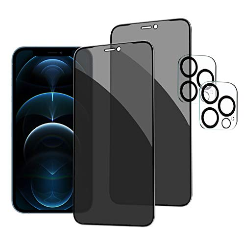 2 Pack Privacy Screen Protector for iPhone 12 Pro Max [6.7 inch]+2 Pack Camera Lens Protector, Anti Spy Tempered Glass Full Coverage Bubble Free