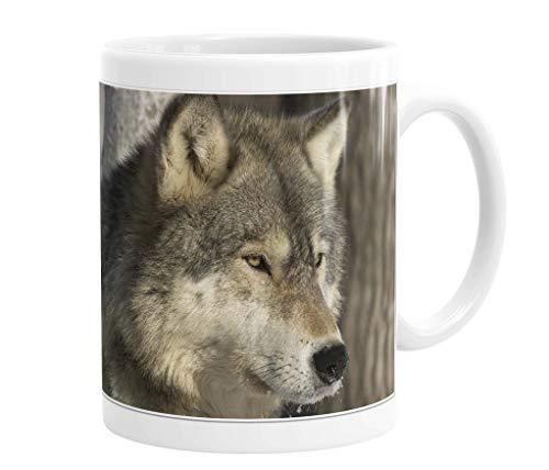 Merchandise for Fans Becher aus Keramik - 330 ml Motiv: Wolf/Grauwolf Porträt (01)