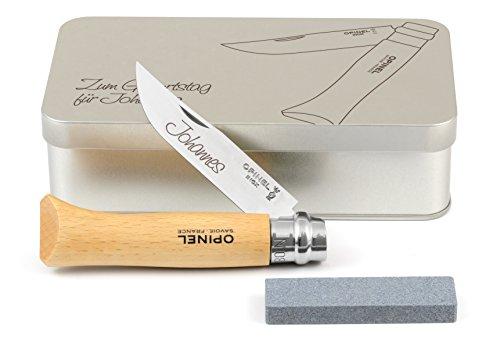 Opinel No.9 Taschenmesser rostfrei Geschenkdose inkl. Schleifstein und Wunschgravur auf Klinge + Dose