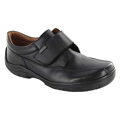 Audaz Zapatos Escolares para Niño Fabricados En Piel Color Negro con Ajuste En Velcro 15
