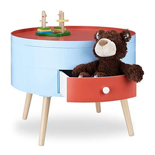 Relaxdays 10021871 Tavolino con Cassetto Comodino Colorato per Cameretta dei Bambini Mobiletto Tondo HxD 45x60 cm Rosso Celeste, rosso/blu, mdf