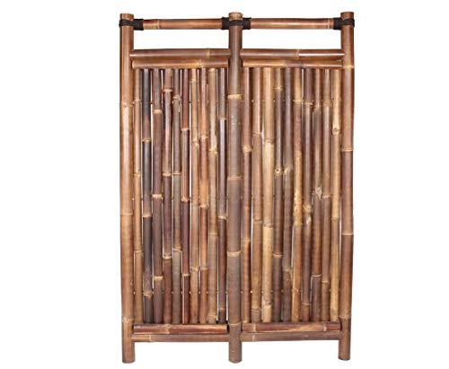 Bambuszaun Jakarta 180x120cm schwarz-braun starr aus Wulung Bambus mit 6 bis 7cm