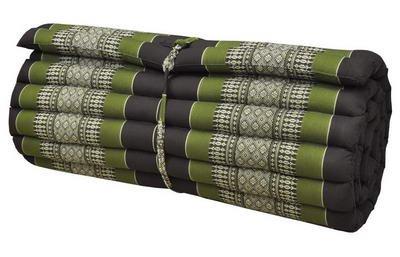 Wilai Kapok Thaikissen, Yogakissen, Massagekissen, Kopfkissen, Tantrakissen, Sitzkissen - braun/grün (Rollmatte breit 75x5x180 (82014))