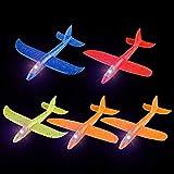 FORMIZON 5 Pack Avions Planeurs Volants avec Flash LED, Avion de Lancer Manuel Planeurs Enfant Jouet, Enfants Mousse Avion Planeur pour Garçon Fille Anniversaire des Enfants