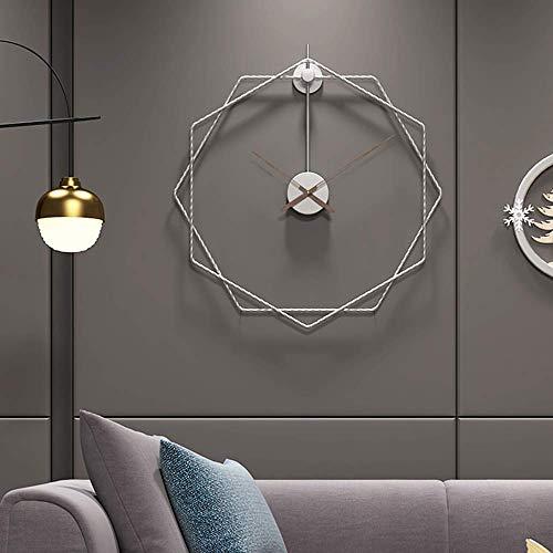 JZDH Reloj de Pared de decoración Reloj de Pared de Gran tamaño geométrico Moderno para Salones Reloj de Pared Minimalista, silencioso, sin hornos, Ideal para Salones, cocinas, oficinas