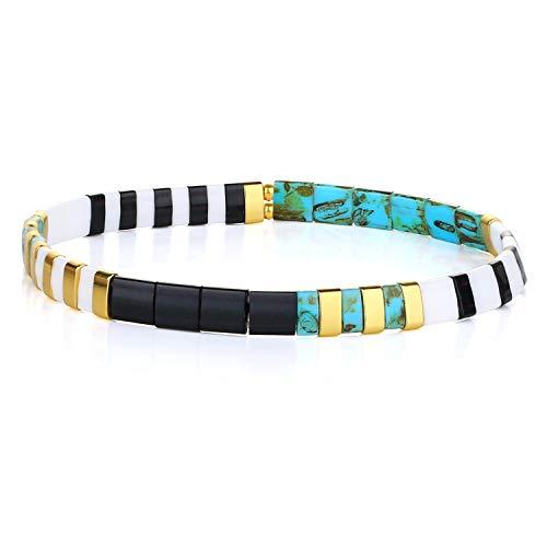 KELITCH Colorful Tila Beads Bracelets Miyuki Stackable Strand Stretch Bracelets Mixed Friendship Bracelets - 9K