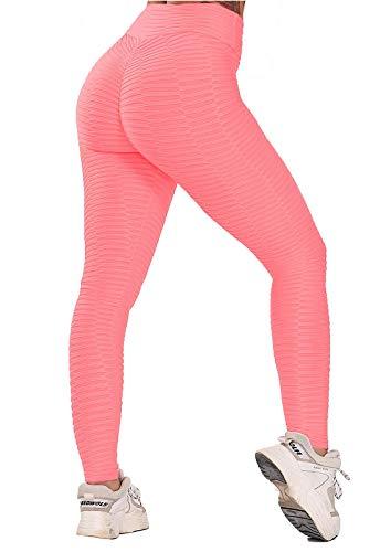 FITTOO Leggings Push Up Mujer Mallas Pantalones Deportivos Alta Cintura Elásticos Yoga Fitness #5 Rosa Mediana