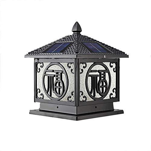 Retro Solar Post Light E27 impermeable columna faros para al aire libre Villa puerta pilar lámpara jardín europeo